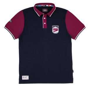 Men's Rugby Polo Shirt - Navy & Cherry